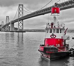 SFFD Fire Boat - Bay Bridge (phomchick) Tags: sanfrancisco canon sffd g11 fotocompetitionbronze