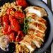 pomodorini glassati e pollo arrosto in cous cous