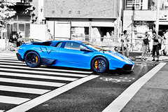 Blue Lamborghini SuperVeloce Tokyo (tokyofashion) Tags: street blue car japan japanese tokyo wing harajuku lamborghini pinstripe sportscar meijidori 2011 superveloce lp670