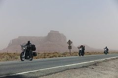 Utah - Monument Valley - motorcycles in a sand storm (Lucie Maru) Tags: usa storm hot southwest west monument rock stone landscape utah sand sandstone rocks plateau nation dry valley monumentvalley reservation rockformations coloradoplateau sandstoneformations ushighway163 sandstrom navajonationreservation sandstonebuttes