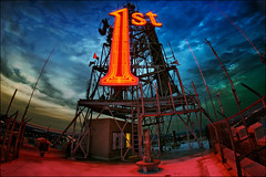 st. paul mn - 1st bank roof sign (Dan Anderson (dead camera, RIP)) Tags: roof sunset red storm building art rooftop minnesota sign skyline architecture night skyscraper logo one 1 downtown neon view 1st stpaul bank icon fisheye national artdeco bluehour twincities saintpaul mn firstnationalbank firstbank