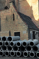 Bruges,  Belgium (faungg's photos) Tags: old city travel concrete town europe european belgium tubes pipe medieval bruges   constructional  0350