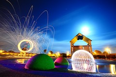 Amongst Friends (AndWhyNot) Tags: light lightpainting abstract wool painting wire steel dome gel 8842