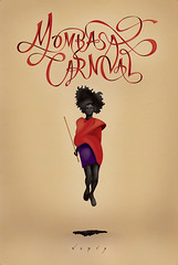 Mombasa Carnival (Brandon Ehrlich) Tags: africa carnival red woman festival illustration typography jump sand kenya ribbon lettering script massai tribe mombasa