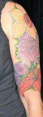 Rosie's awesome flowers (LauraBeeBennett) Tags: tattoo tattoos flowertattoo tattooedwomen napavalleycalifornia flowertattoos bugtattoos prettytattoos winecountrytattoos napacaliforniatattoos flyingcolorstattoo ta2lady