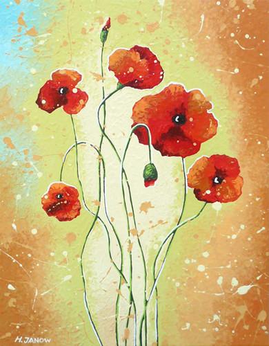 Original Red Poppies Flower Painting
