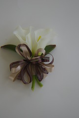 RBH Mothers Corsages Close (elitedesignsbydaphne) Tags: brown ivory bamboo zen bouquet bridal callalily boutonniere chocolatecallalily