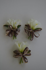 RBH Mothers Corsages (elitedesignsbydaphne) Tags: brown ivory bamboo zen bouquet bridal callalily boutonniere chocolatecallalily