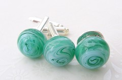 Caribbean Sea Cufflinks & Tie Pin Set (Glittering Prize - Trudi) Tags: sea men green glass set silver beads pin handmade tie jewellery caribbean trudi lampwork cufflink glitteringprize