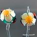 Earring : Teal Flower Bloosom Ladybug