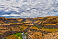 Palouse Falls buttes wide (Cascade Motif) Tags: sky windmill clouds river landscapes waterfall washington dirtroad coulee canyons gravelroad palouse wheatfield kamiakbutte steptoebutte