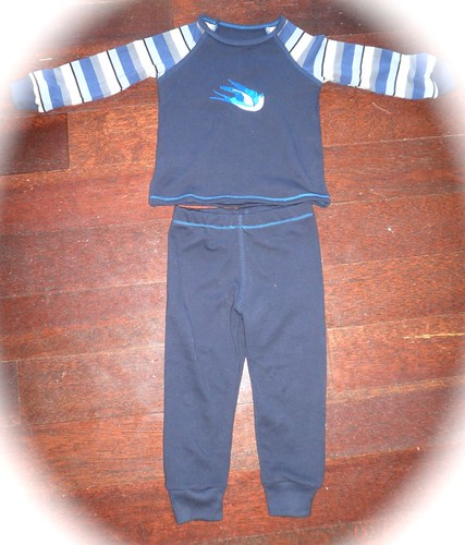 Ottobre Night owl jersey Tshirt/pj top 6/2009 #35 and Stripy legs long johns/pj #36 set