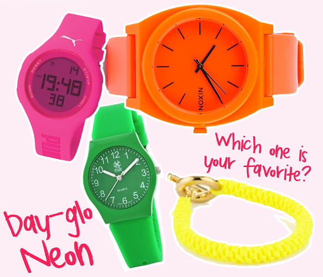 Neon bracelets, Neon watches, Fluorescent Fashion accessories