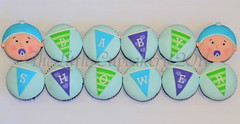 Boy Baby Shower Cupcakes (Klaire with a Cake) Tags: blue boy baby green shower purple little banner tlc the cupcakery klairescupcakes