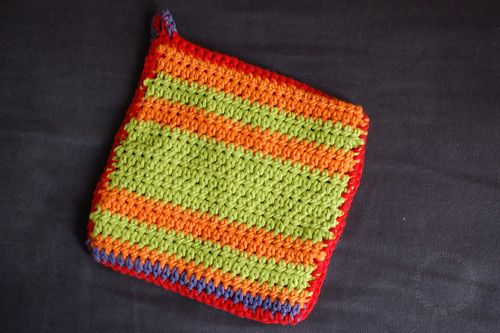 stripey side of potholder