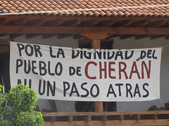 Cherán protest banner