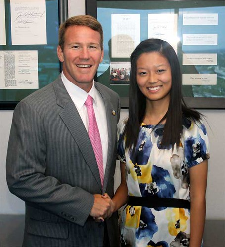 Wei Sun with Ohio Secretary of State Jon Husted