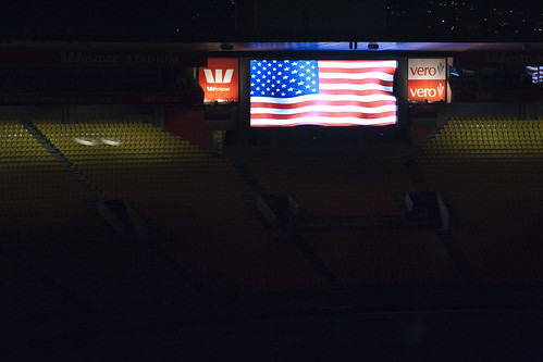 The Jumbotron U.S. flag.
