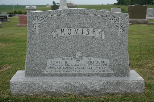 Tombstone of Lewis and Lena Homire.