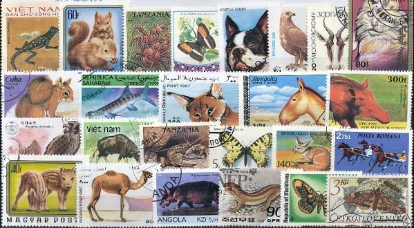 Známky - 100 rôznych, zvieratá