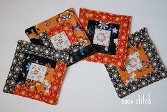 Patchwork coaster (coco stitch) Tags: orange black halloween quilt logcabin patchwork coaster japanesefabric lecien