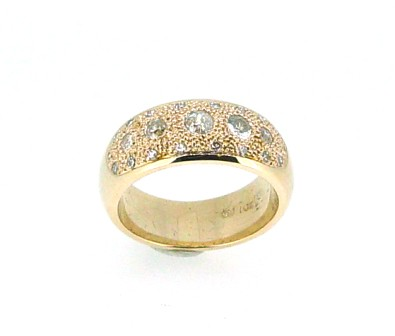 Diamond Set Yellow Gold Dome Ring.