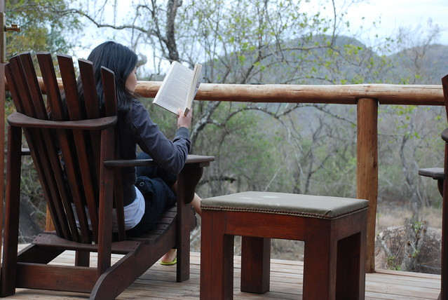 Enjoying the serenity as I read facing the wilderness, Johannesburg, South Africa.