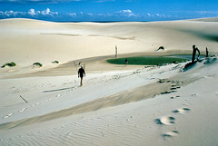 Cape Howe dunes, 1985 (NettyA) Tags: sea beach nature water coast sand december south footprints reserve australia bushwalking nsw newsouthwales wilderness tasman 1985 sanddunes croajingalong bushwalkers capehowe nadgee nswvictorianborder janettetomsett