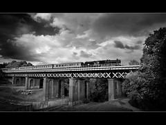 Cumbrian Mountain Express - Mono (Mister Oy) Tags: bridge england blackandwhite monochrome mono photo moody sthelens steamtrain davegreen class5 45305 carrmilldam pictureof nikond700 oyphotos