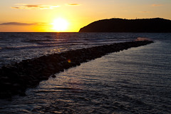 Mlle sunset (Hkan Dahlstrm) Tags: sunset yellow pier skne sweden f11 skane kullaberg 2011 mlle ef50mmf25compactmacro canoneos5dmarkii molle sek