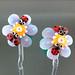 Earring Pair : Red Ladybug Peiwinkle Flower Blossom