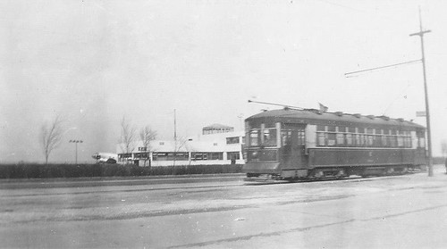 A westbound Chicago Surface Lines West 63rd Street streetcar passing Chicago Municipal Airport.  Chicago Illinois USA. Circa early 1940's. by Eddie from Chicago