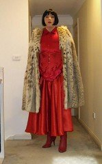 The Scarlet Governess (8) (Furre Ausse) Tags: red fur boots coat skirt blouse gloves corset cape satin mistress lynx domme domina governess gouvernante