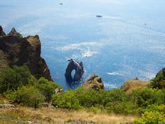 Golden Gate Rock, Kara Dag (Cad-Kyiv) Tags: sea cliff rock landscape boats rocks crimea blacksea karadag extinctvolcano