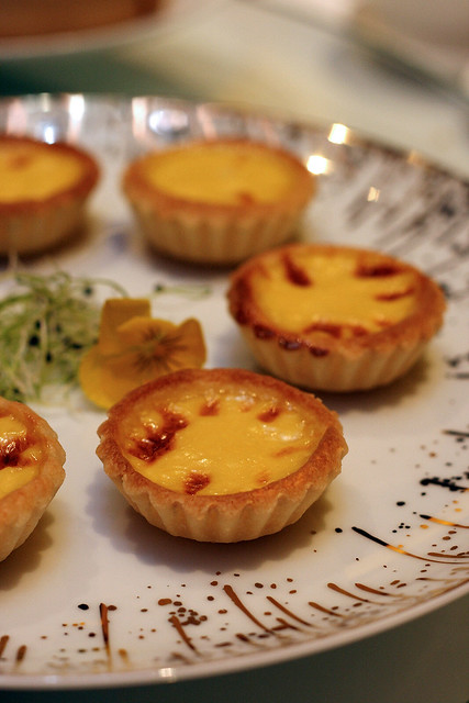 Egg Tart with a golden custard center and a crispy crust