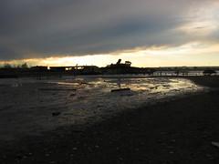 Sunset tide coming in (bk rabblerouser) Tags: newyorkcity sunset abandoned boat decay statenisland arthurkill boatgraveyard