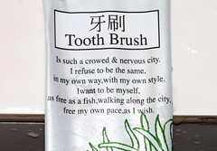 Tooth Brush (cowyeow) Tags: china fish silly reflection art strange sign asian bathroom freedom hotel design weird crazy funny asia poetry poem dumb chinese bad taiwan dental wrong badenglish engrish badsign nervous packaging wtf toothbrush chinglish misspelled funnysign misspell fail baling funnychina chinesetoenglish