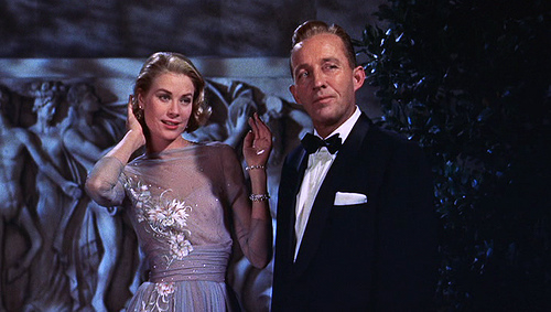 high society grace kelly vintage 50s chiffon emvroidered blue grey ball gown bing crosby
