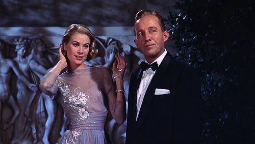 high society grace kelly vintage 50s chiffon emvroidered blue grey ball gown bing crosby