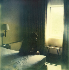(theonlymagicleftisart) Tags: nyc selfportrait polaroid alone lonely hotelroom selftimed impossibleproject insantfilm px680