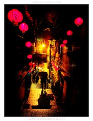 Night's splendid mystery (All Too Real) Tags: travel light shadow color rain mystery night dark darkness taiwan lanterns after     jiufen