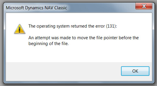 The operating system returned the error (131)