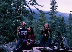 1976, with friends in the Sierra Nevada (spysgrandson) Tags: california mountains film hippies canon longhair hippy pines 1975 cropped filmcamera sierranevada canonf1 menwithlonghair croppedshot canonf1camera