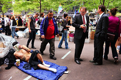 Occupy Wall Street. (Rachel Citron) Tags: newyorkcity shirtless bloomberg politics streetphotography police cleanup tattoos gothamist coverage campout democrats curbed republicans protestors liberals encampment stockbrokers socialactivism ows meninsuits zuccottipark cityroom thedefiningtouch thenytimes campaign2012 deftouch thelocaleastvillage occupywallstreet occupywallst afriendlyexchange whataretheyfightingfor