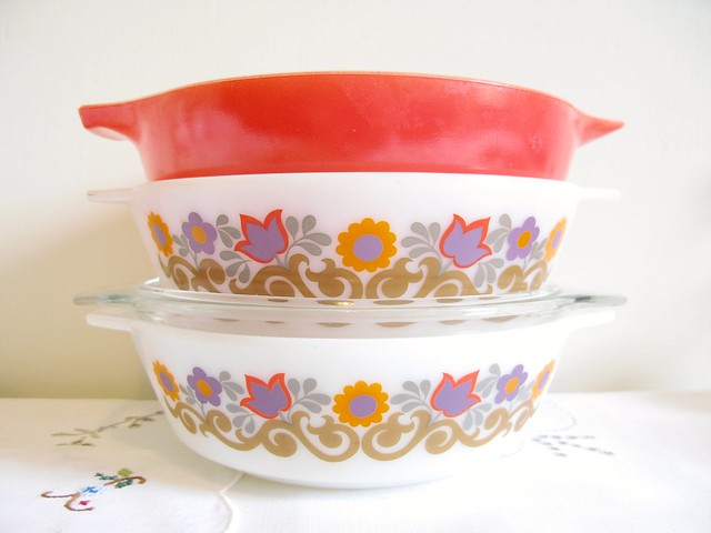 One red pyrex bowl and two floral JAJ casserole dishes just like my Mam used to have when I was little... :) | Emma Lamb