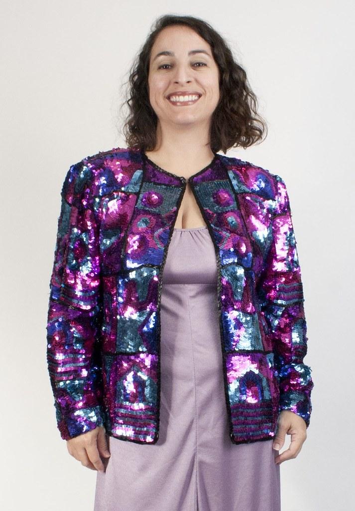 Multicolor vintage sequined jacket