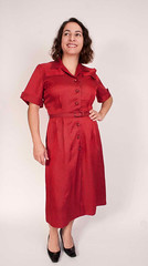 House of Shroyers 1950's red dress (Sweet Vintage Lady) Tags: fifties etsy forties vintagedress 1950sdress 1940sdress rayondress rubyreddress vintagehousedress sweetvintagelady houseofshroyers