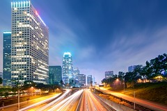 the city never sleeps (Eric 5D Mark III) Tags: california longexposure sky usa cloud building misty skyline night canon landscape photography la losangeles downtown cityscape unitedstates foggy wideangle freeway midnight lighttrail ericlo ef14mmf28liiusm eos5dmarkii