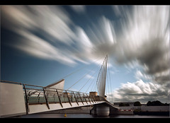 Boom on the bridge........ (Chrisconphoto) Tags: longexposure architecture clouds canon manchester movement salfordquays le weldingglass