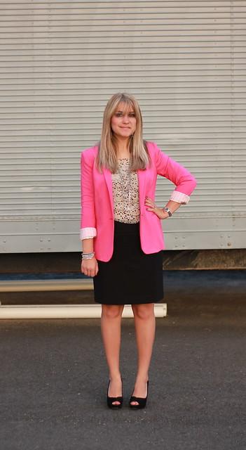 pink glow in the dark blazer outfit